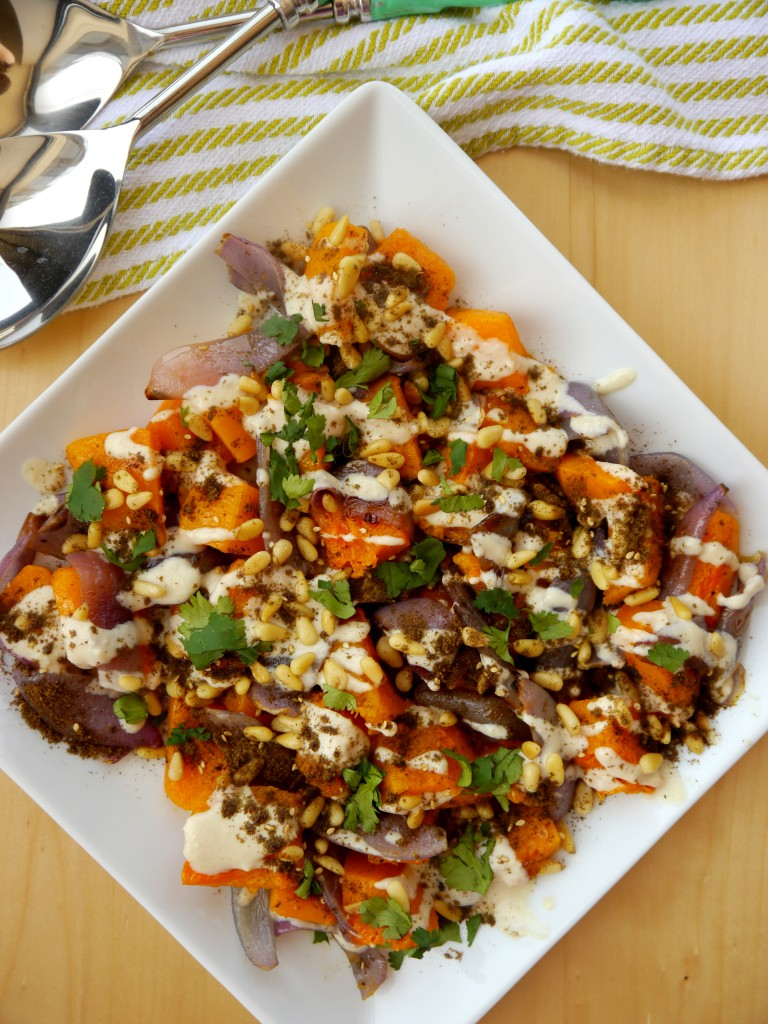 Roasted Butternut Squash with Tahini, Toasted Pine Nuts, and Za'atar | www.mybaconwrappedlife.com