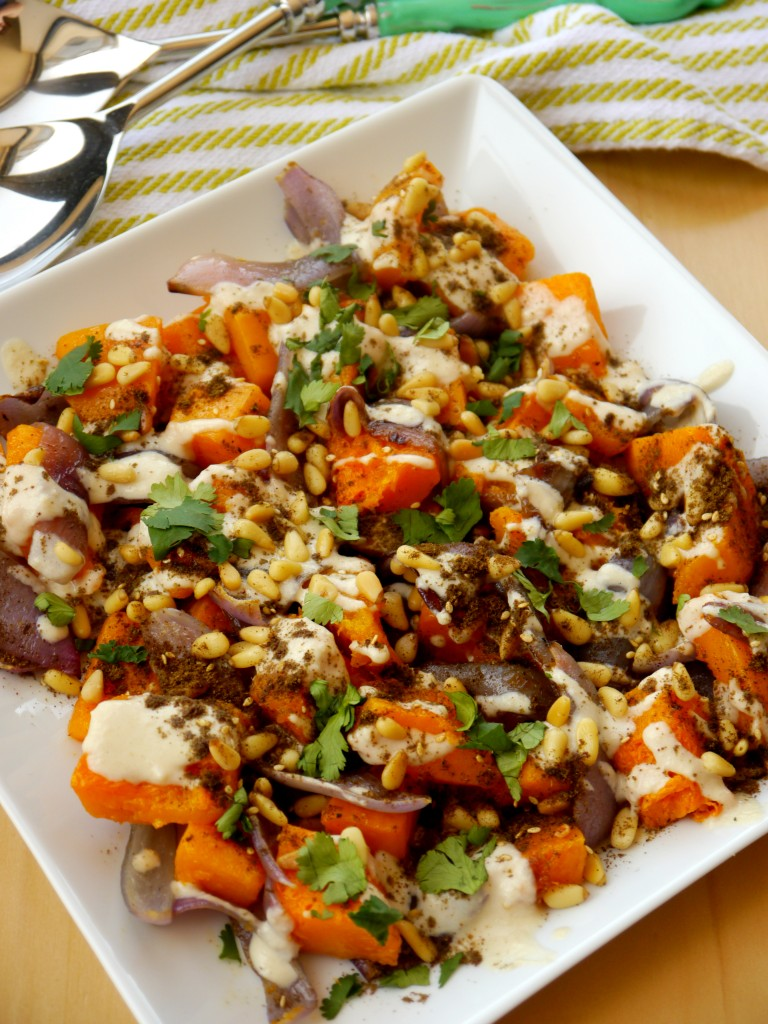 Roasted Butternut Squash with Tahini, Toasted Pine Nuts, and Za'atar 3 | www.mybaconwrappedlife.com