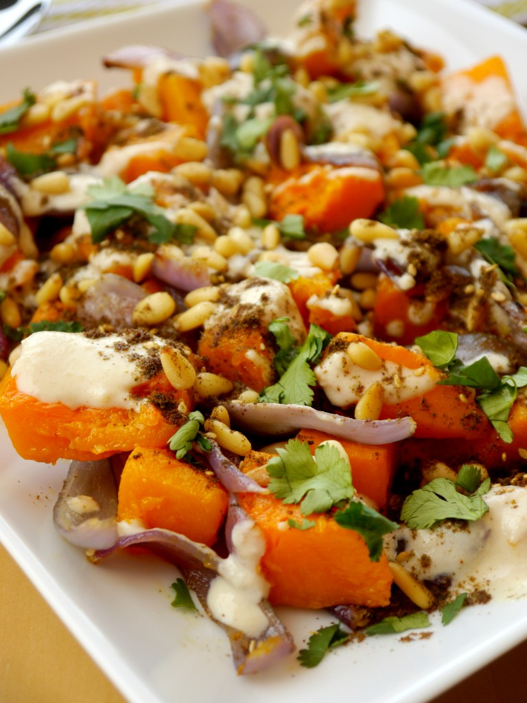 Roasted Butternut Squash with Tahini, Toasted Pine Nuts, and Za'atar 4 | www.mybaconwrappedlife.com