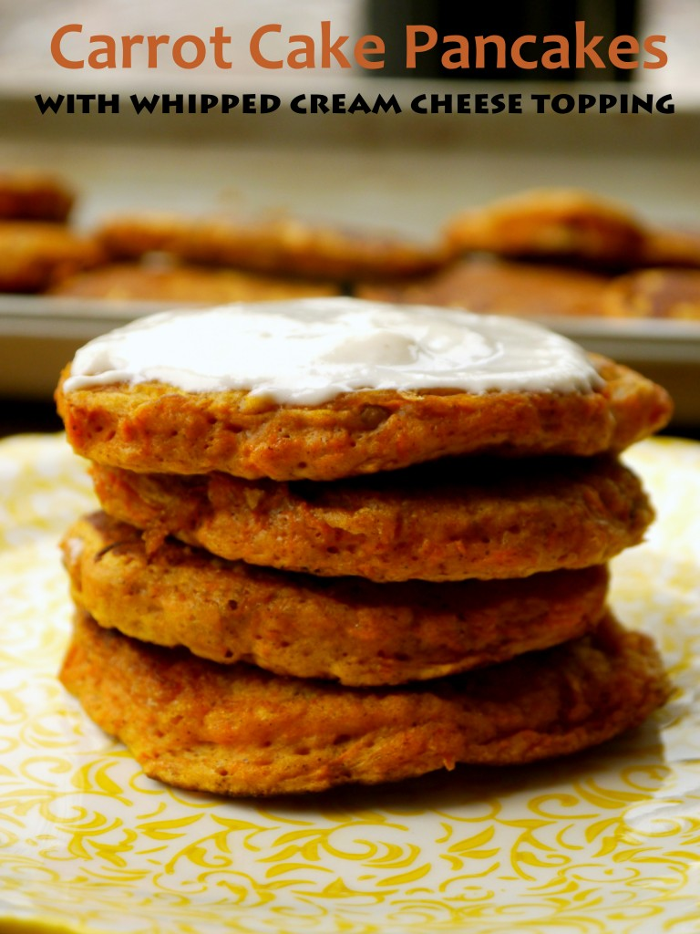 Carrot Cake Pancakes with Whipped Cream Cheese Topping | www.mybaconwrappedlife.com
