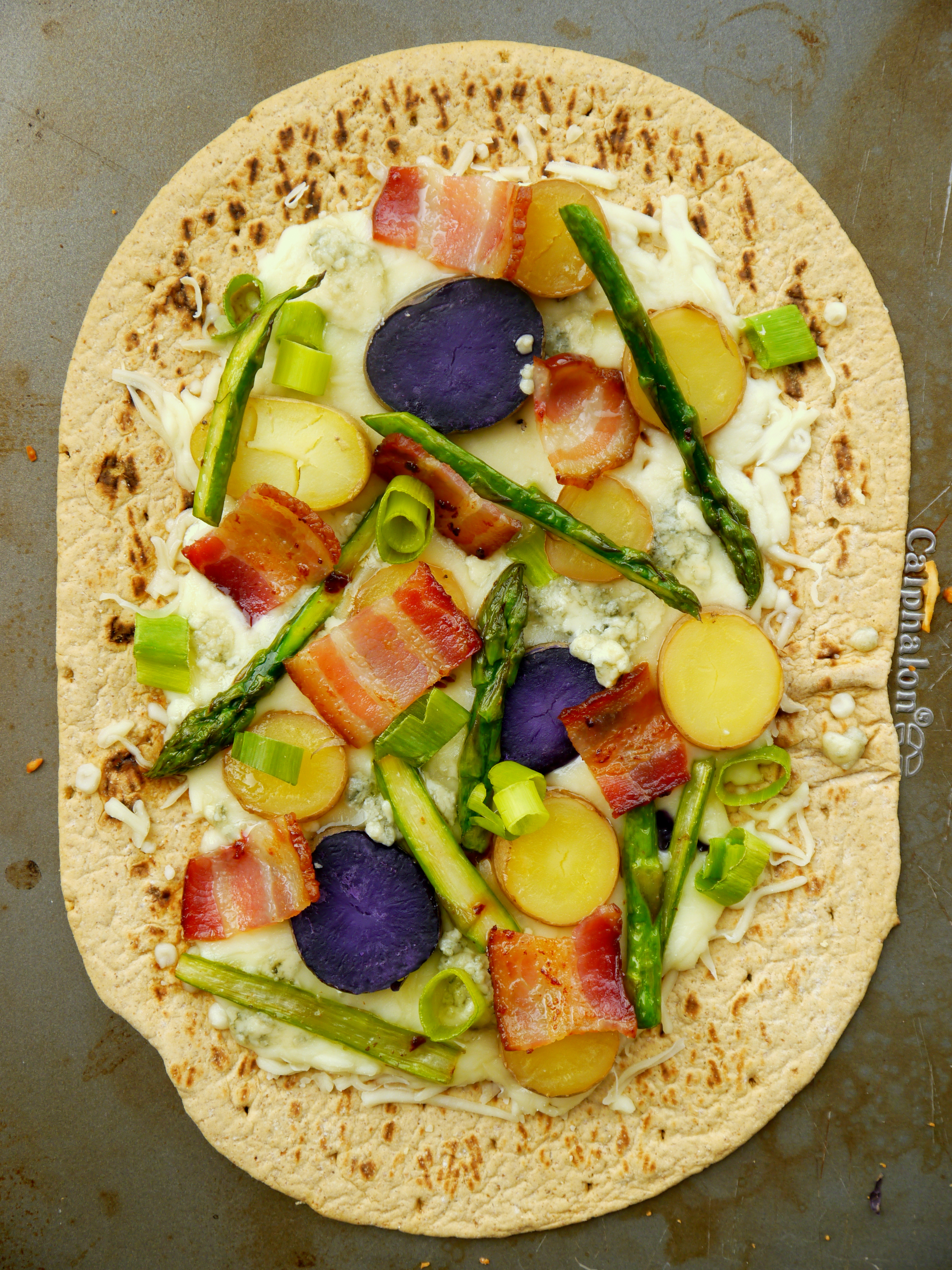 Asparagus And Fingerling Potato Flatbread Pizza With Bacon