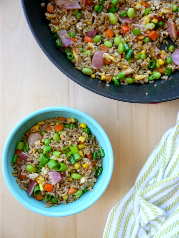 edamame bacon fried rice // my bacon-wrapped life