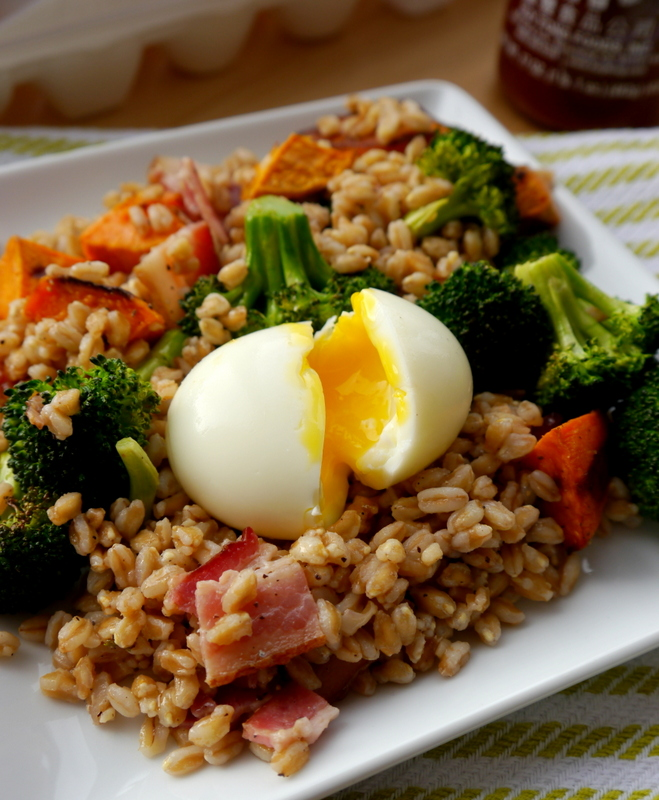 bacon and egg farro salad // my bacon-wrapped life