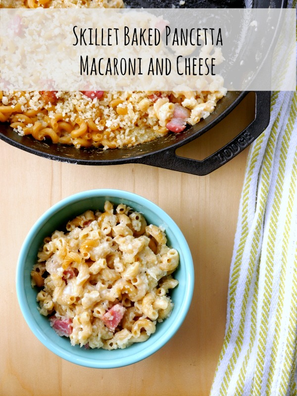 skillet baked pancetta macaroni and cheese // my bacon-wrapped life