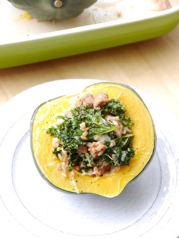 spicy sausage, kale, and farro-stuffed roasted acorn squash // my bacon-wrapped life
