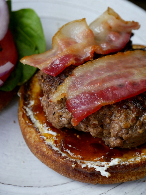 the ultimate bacon burger with goat cheese, fig jam, and spicy porter mustard // my bacon-wrapped life