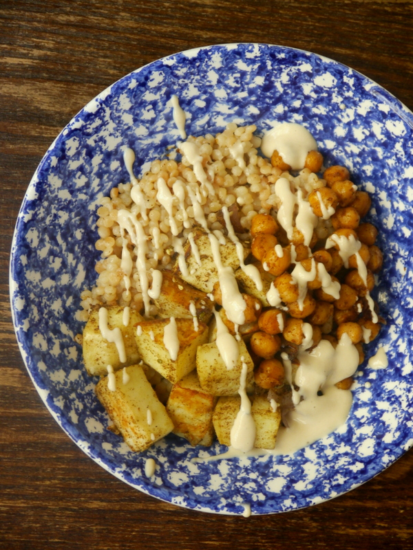 israeli couscous bowls with za'atar roasted sweet potatoes, crispy chickpeas, and maple-tahini drizzle // my bacon-wrapped life