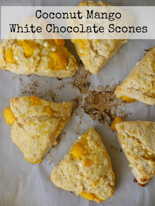 Coconut Mango White Chocolate Scones - My Bacon-Wrapped Life