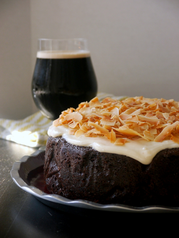 guinness chocolate cake with toasted coconut cream cheese frosting // my bacon-wrapped life